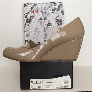 CL by Laundry Nima Nude Patent Leather Wedge Pump